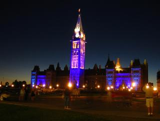 Canadian Parliament at night
