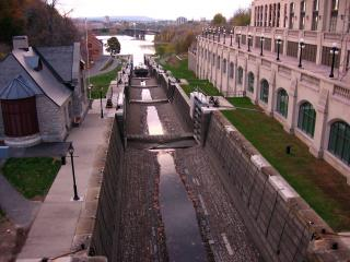 Empty Rideau Canal locks