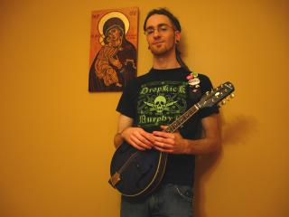 Drew Sexsmith with a mandolin