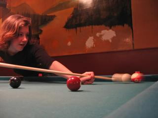 Emily Horn playing pool