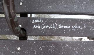 Graffiti on a bench
