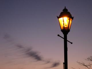 Lamplight and sunset