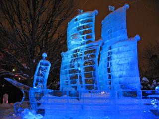 Tall ship ice sculpture at Winterlude, Ottawa