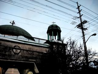 Mosque and power lines