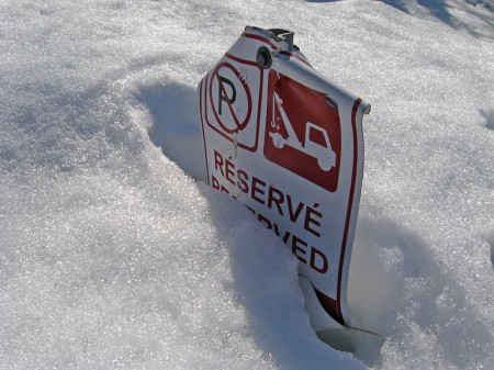 Parking sign buried in snow, Ottawa