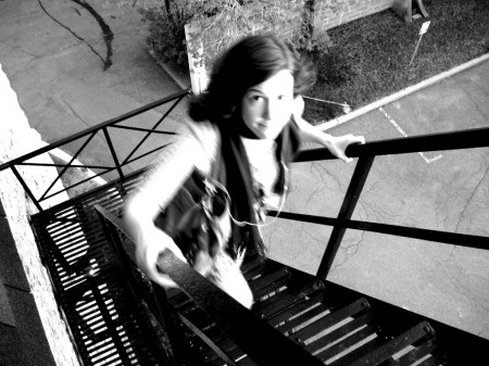 Emily Horn on a fire escape