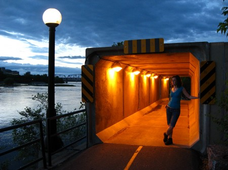 Emily Horn in tunnel on Ottawa River Pathway