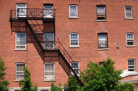 Brick building with fire escape