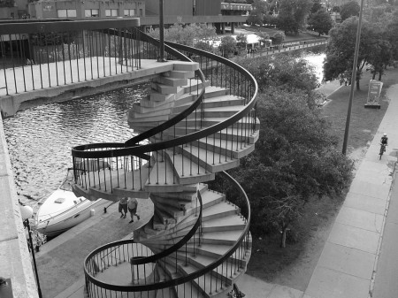 Spiral stairs beside the canal