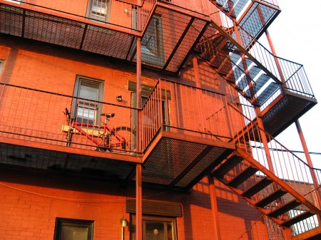 Red fire escape stairs