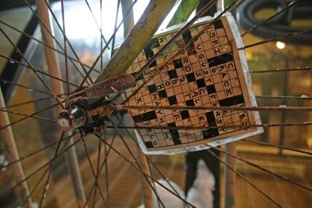 Crossword in bike spokes