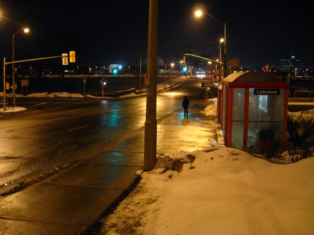Ottawa bus stop in winter
