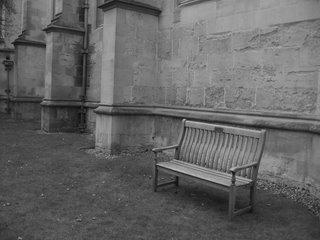 Empty bench, Wadham gardens