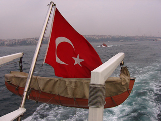 Turkish flag on a boat