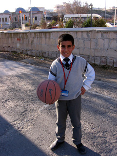 Turkish child with basketball