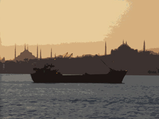 Ship and mosques in Istanbul