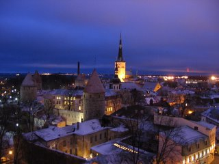Tallinn, viewed from on high at night