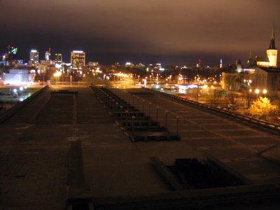 Old and New Tallinn, night skyline