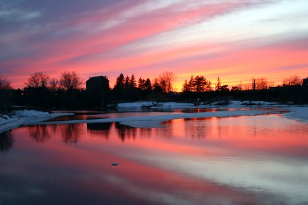 Ottawa River in pink and blue