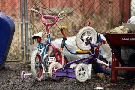 Tangle of small bikes