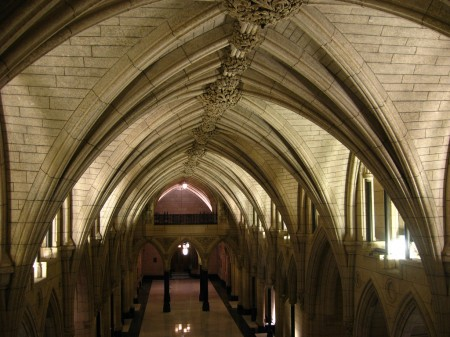 Hallway leading to the library, in the Canadian Parliament
