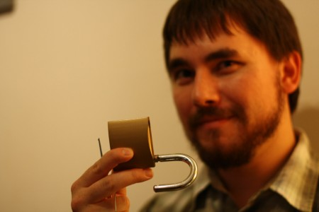 Milan Ilnyckyj with a picked padlock