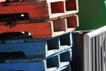 Primary colours on wooden crates