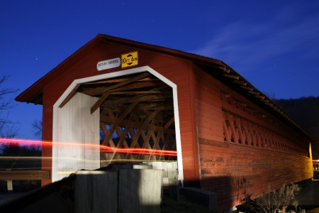 Covered bridge at night, Vermont