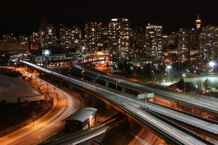 Vancouver skyline, highway, and SkyTrain tracks