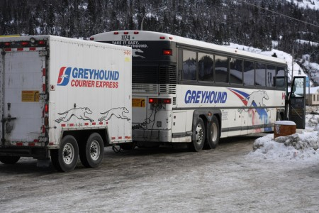 Greyhound bus in Revelstoke