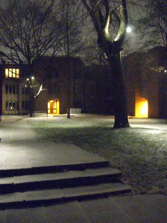 Early morning snowfall, Massey College