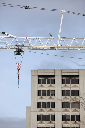 Crane in front of OISE, Toronto