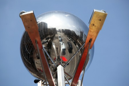 Reflective sphere, Church Street, Toronto