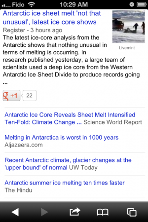 Google News stories about antarctic melting 2013-04-15