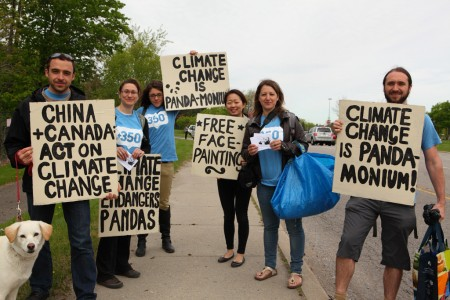 Climate activists at the Toronto Zoo panda opening day