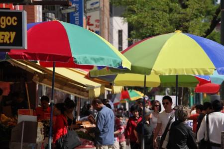 Colourful umbrellas on Spadina