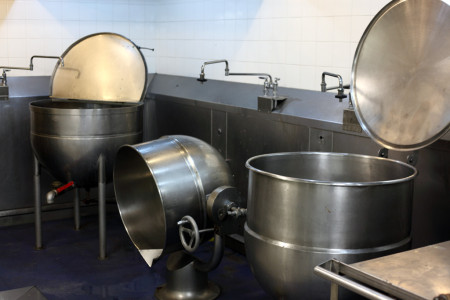 Cauldrons in Hart House kitchen