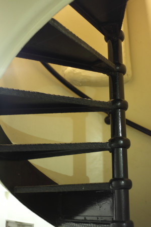 Basement spiral staircase
