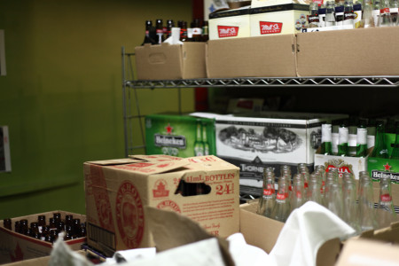 Empty beer bottles