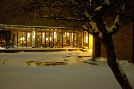 The Massey pond and common room in snow