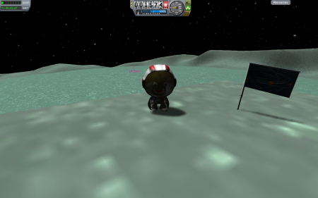 On a Minmus mountainside, overlooking landing site