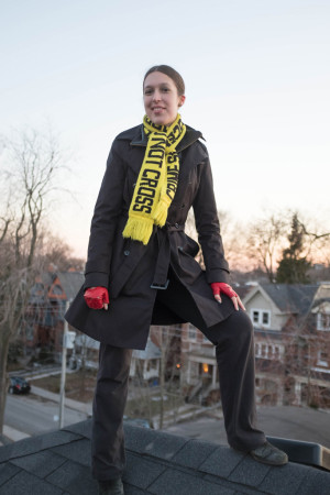 Sarah Harland-Logan with crime scene scarf