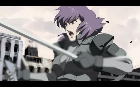 Motoko Kusanagi grabs a helicopter 4/8