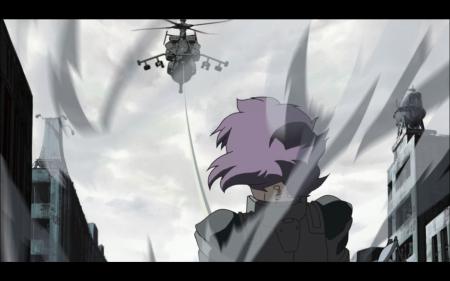 Motoko Kusanagi grabs a helicopter 5/8