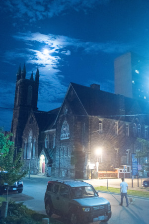 Toronto church and moon