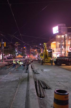 Streetcar track installation