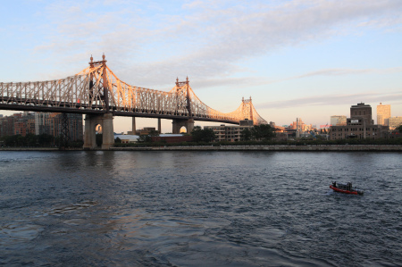 59th Street Bridge with coast guard boat