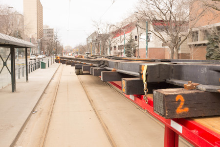 Streetcar track construction