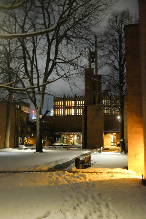 Massey College in the snow