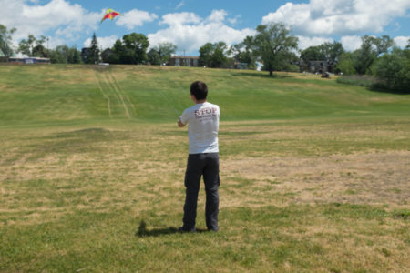 Two-line kite flying in Toronto's Riverside Park